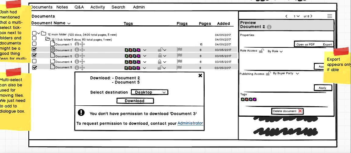 Wireframe image showing interface of document selection panel of legal software