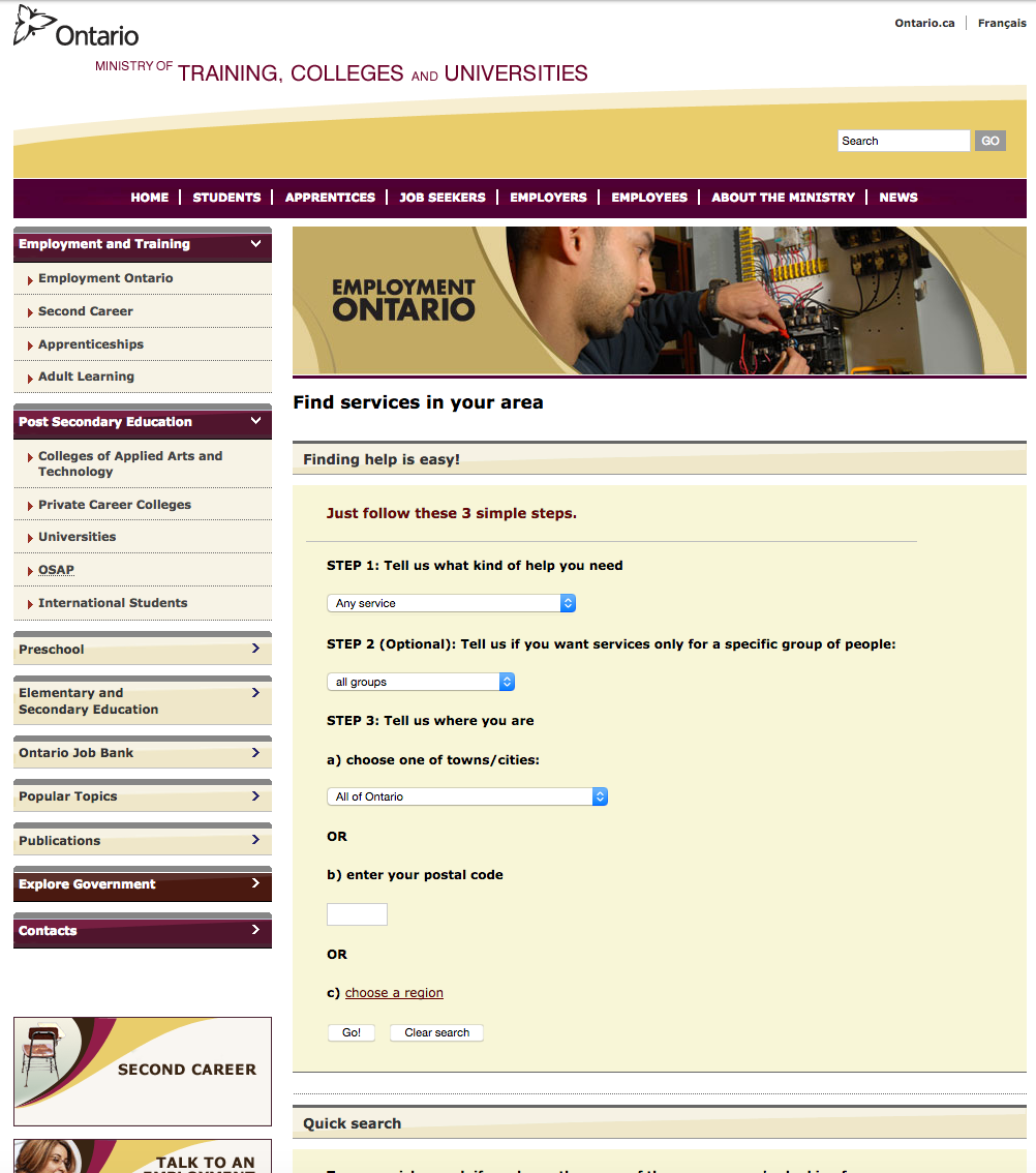 Image showing high fidelity mock-up of interface for users to find services in their areas on Ministry of Training Colleges and Universities site.