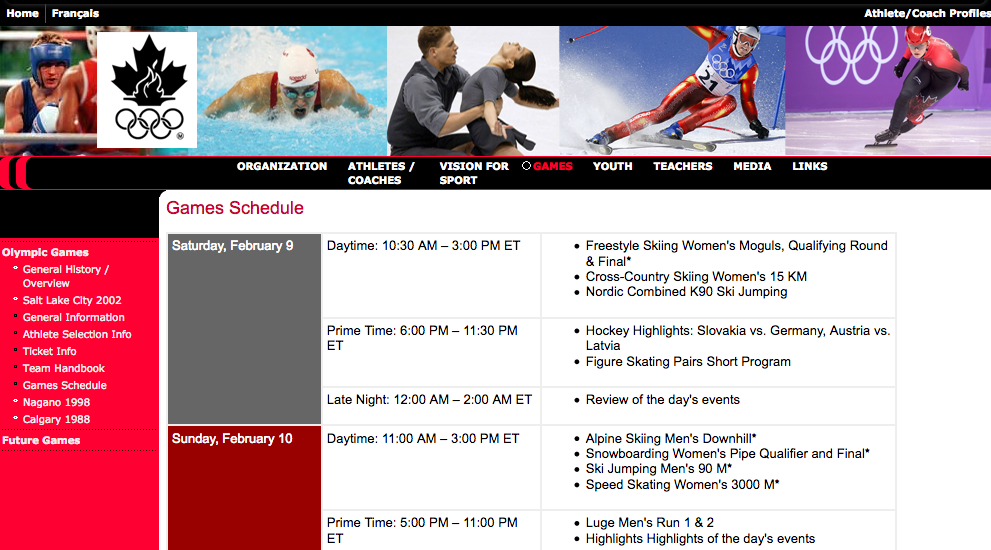 Image showing high fidelity prototype games schedule page of Canadian Olympic Committee website