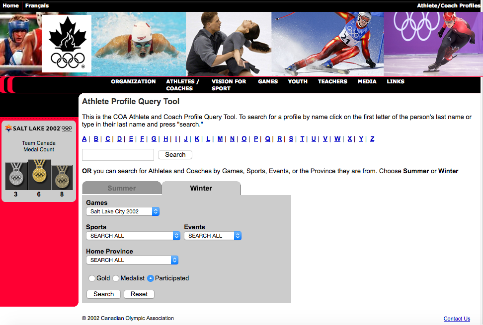 Image showing high fidelity prototype of athlete query page of Canadian Olympic Committee website