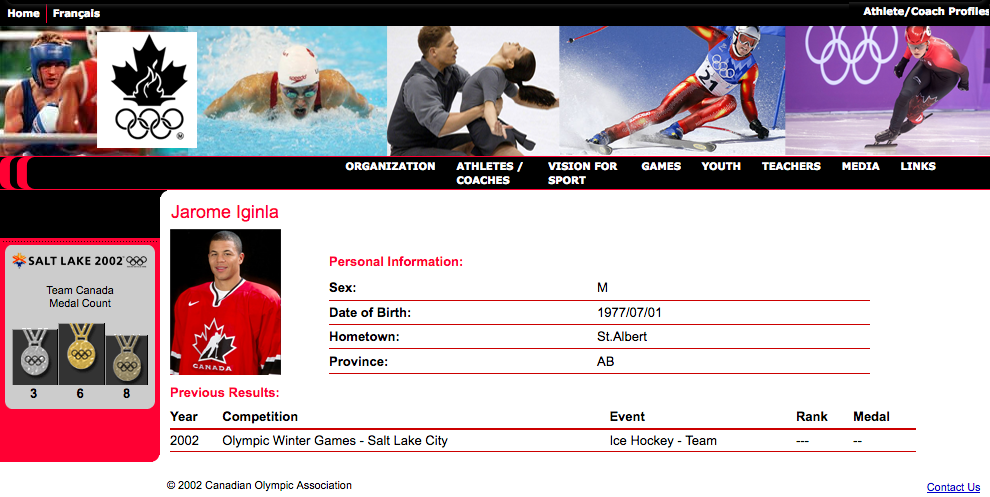 Image showing high fidelity prototype of athlete profile page of Canadian Olympic Committee website