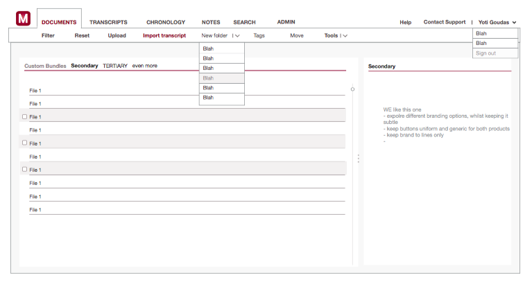 Image showing high fidelity prototype of software interface for document selection