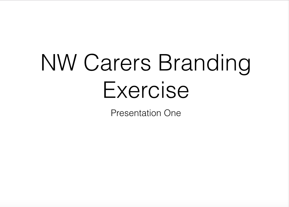 Image of front slide of NW Carers Branding exercise presentation.