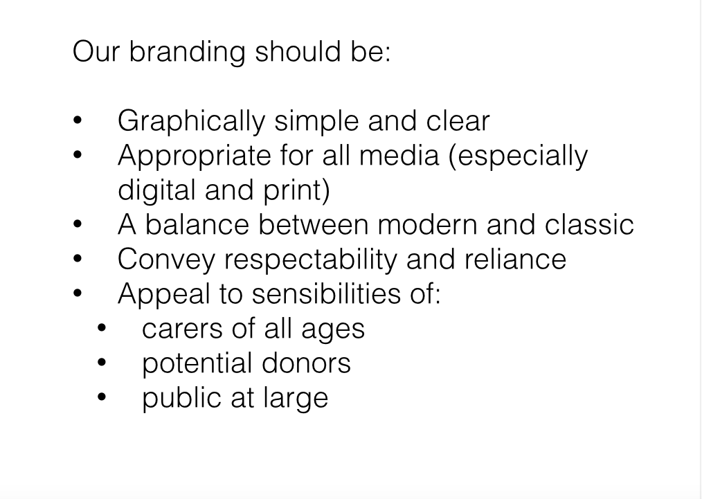 Image of slide describing that branding should be graphically simple and and clear, apprAppropriate for all media, balanced between a modern and classic aesthetic, convey respectability and reliability, and appeal to all larger audienceso