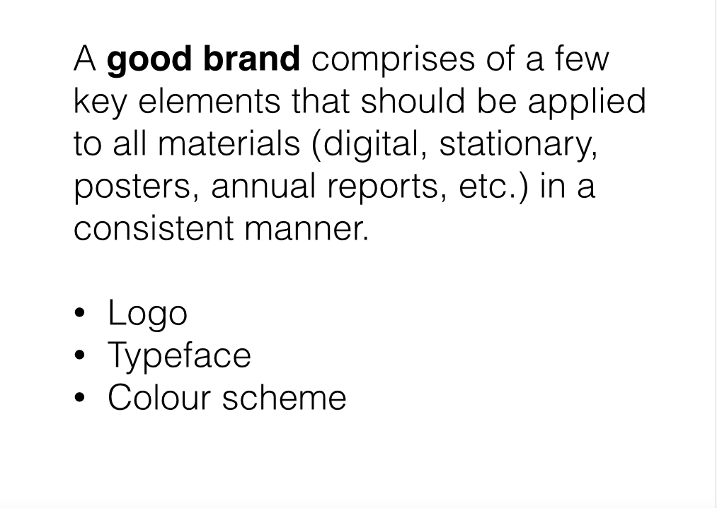 Image of slide which talks about the attributes of a good brand and how this translates to a logos, typeface and colour schemes