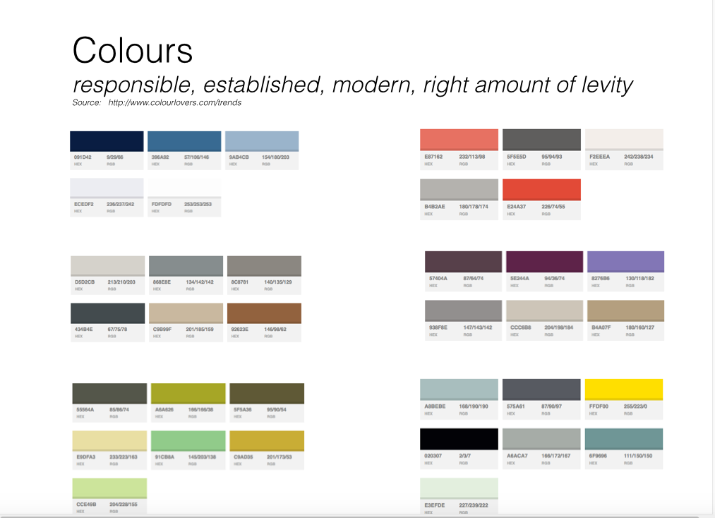 Image of different colour combinations for brand development
